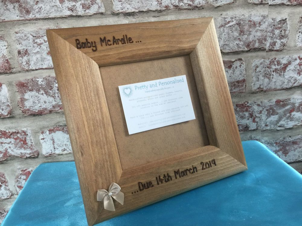 Personalised baby scan photo frame wooden