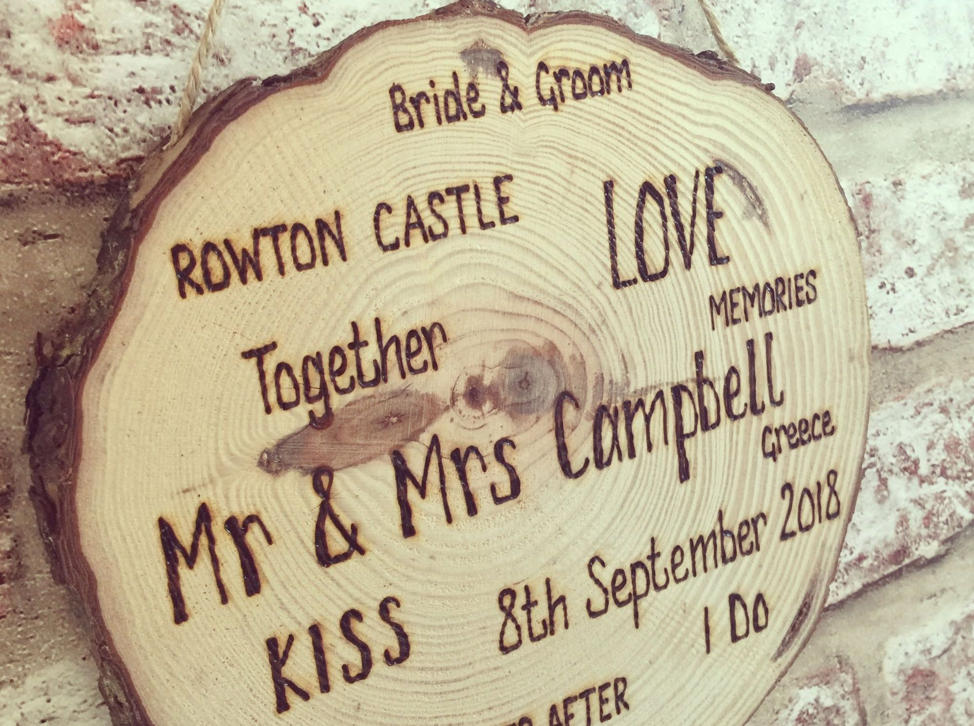 Engraved wedding log slice plaque