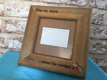 Personalised scan photo frame rainbow baby after miscarriage