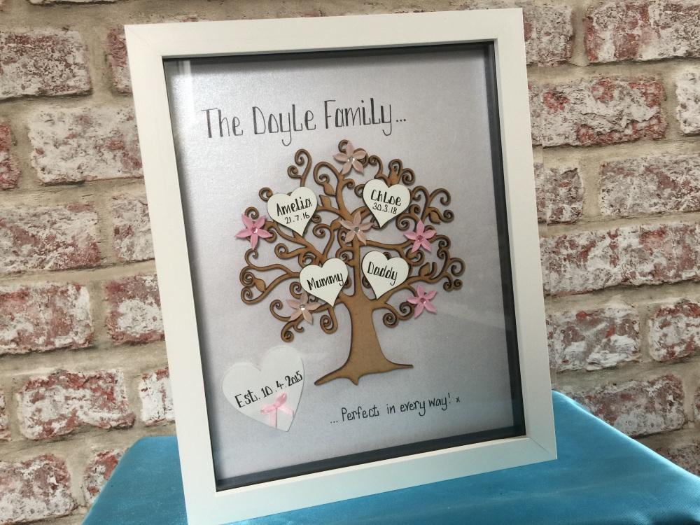 Family tree personalised box frame large