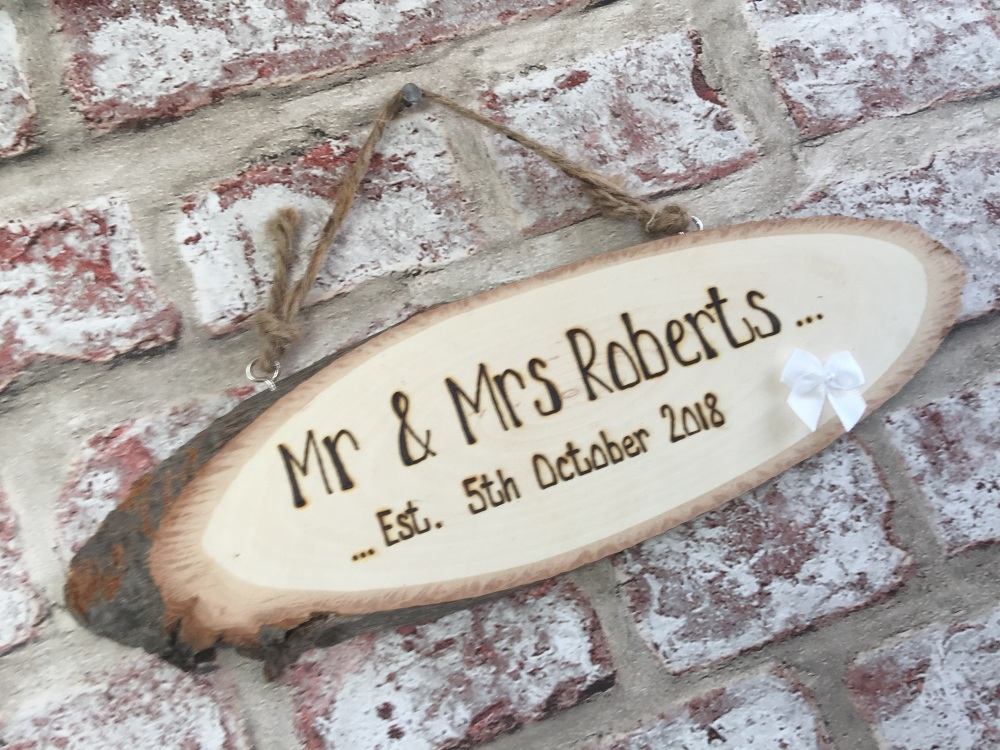 Mr Mrs Wedding Engraved Personalised Wooden Plaque Sign
