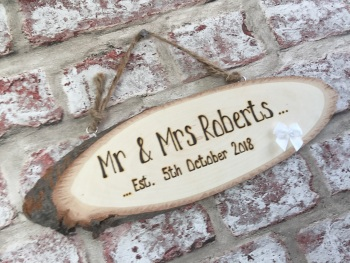 Mr & Mrs wedding engraved personalised wooden plaque sign