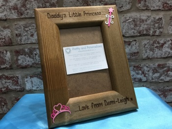 Daddy / daughter / princess personalised wooden photo frame