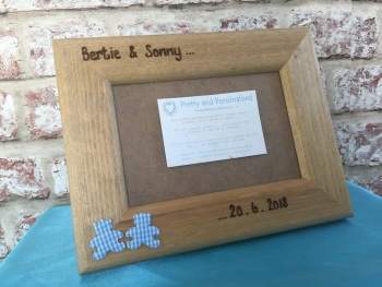Twins / Triplets personalised wooden photo frame