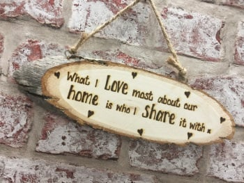 Personalised wooden plaque hand engraved for home housewarming