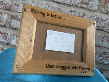 Personalised wooden photo frame engraved hearts