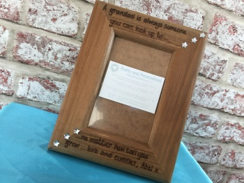 Engraved Grandad wooden photo frame personalised