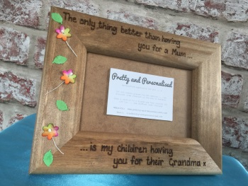 Personalised rustic wooden photo frame for Mum / Nan