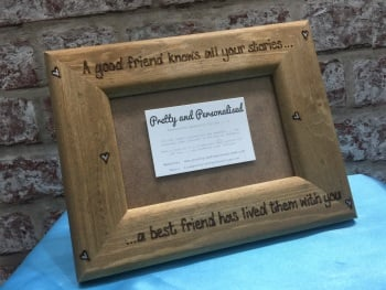 Personalised wooden photo frame best friend quote