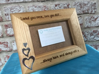 Personalised wooden photo frame with engraved love quote