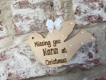 Personalised wooden dove Christmas tree decoration tag