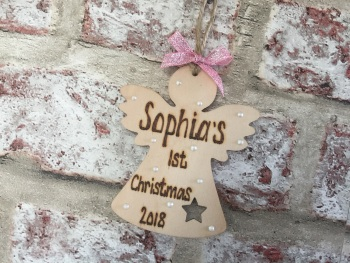 Personalised wooden angel Christmas tree decoration tag