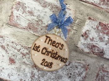 Personalised wooden Christmas tag decoration