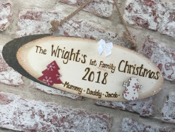 Personalised wooden plaque 'Our 1st Family Christmas'