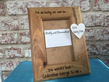 Godparent personalised wooden photo frame