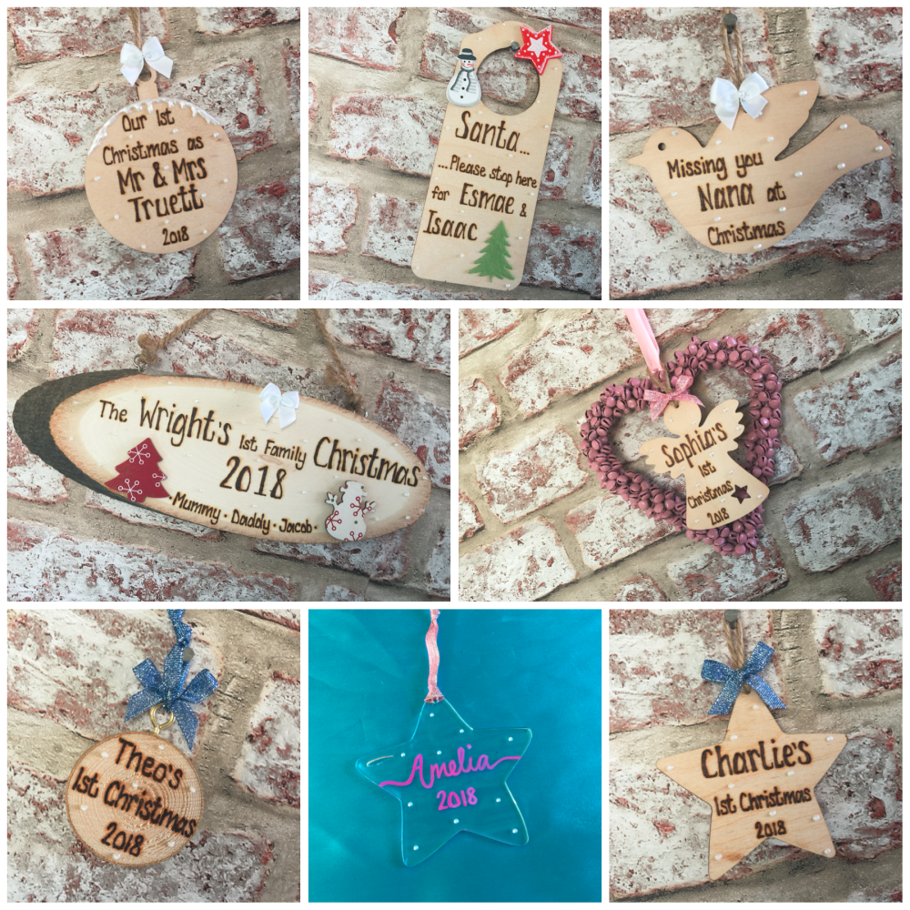 Personalised wooden and acrylic Christmas decorations