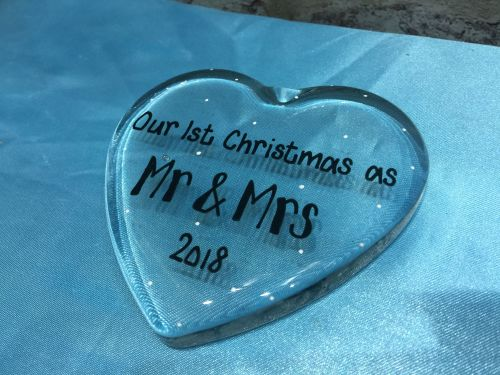 Personalised glass heart 'Our first Christmas as Mr & Mrs'.