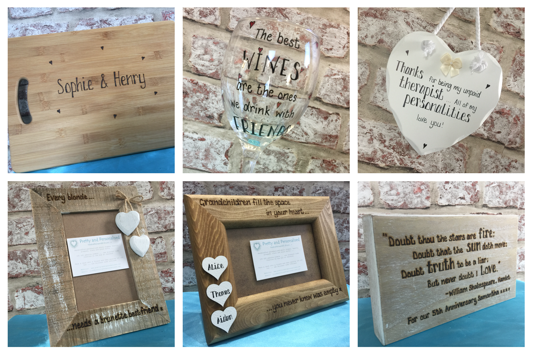 A range of handcrafted personalised gifts
