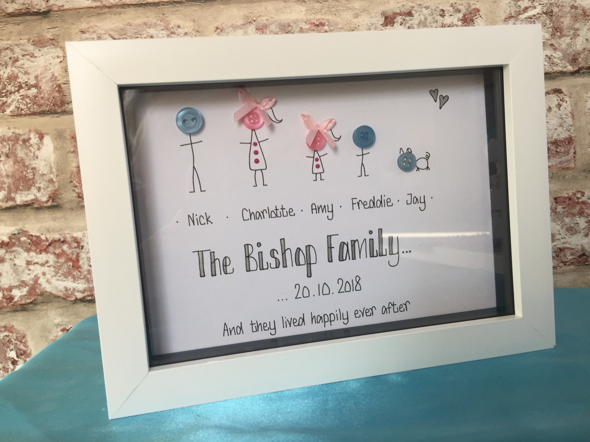 Button head personalised family frame