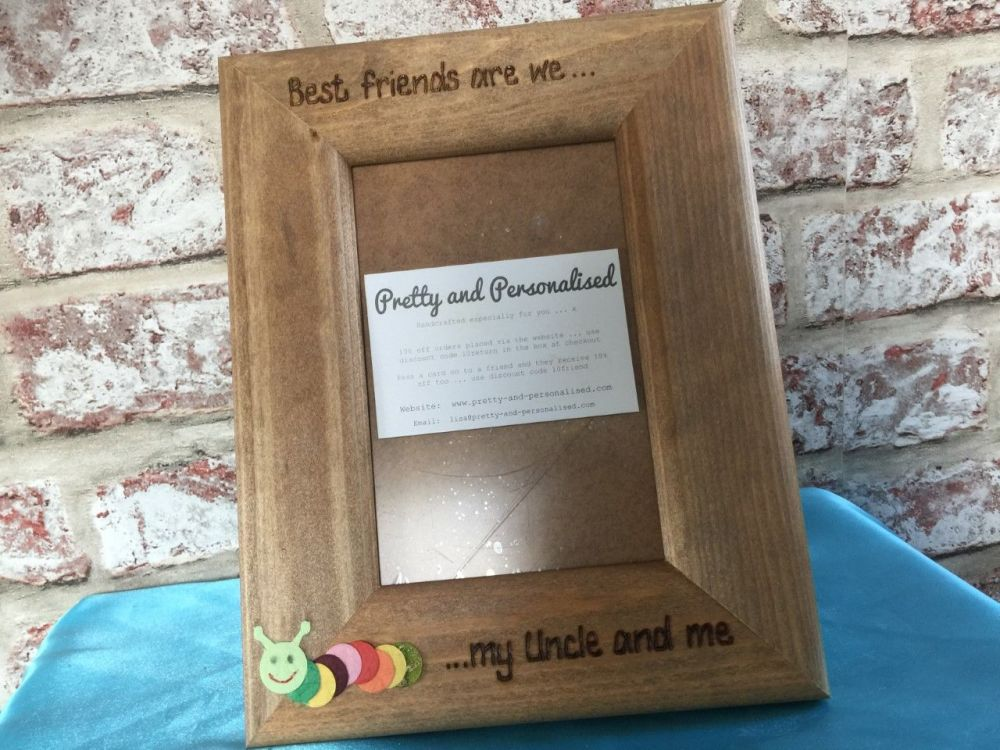 Best friends are we caterpillar personalised photo frame