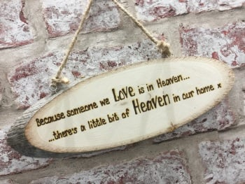 Personalised Wooden Plaque In Memory In Heaven In Our Home