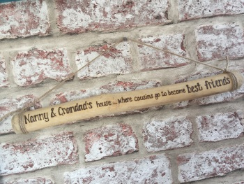 Engraved driftwood hanging plaque / sign Nan / Grandad / Cousins