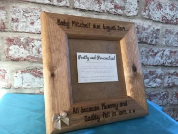 Baby Scan 'Mummy and Daddy fell in love' - Personalised Solid Wood Photo Frame
