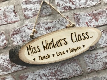 Personalised wooden plaque for teacher / classroom