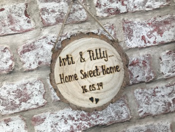Personalised wooden log slice plaque for new home housewarming