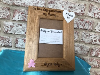 Engraved nan / new baby personalised photo frame