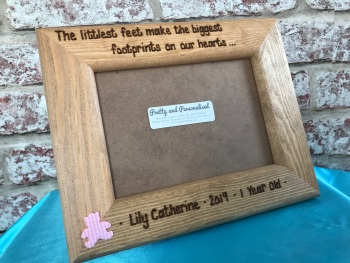 Personalised engraved photo frame for new baby