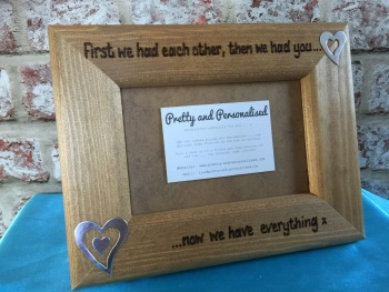 Personalised rustic photo frame with beautiful family quote