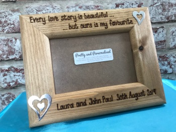 Personalised wooden photo frame beautiful love story quote