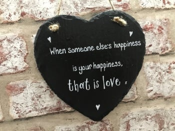 '. . . that is love' - Personalised Slate Heart Plaque