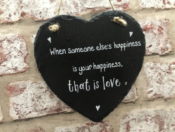 That is love, happiness personalised slate heart sign/plaque