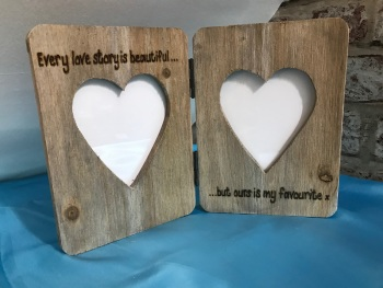 Personalised Photo Frame Driftwood Style Wooden Love Is Valentines Day