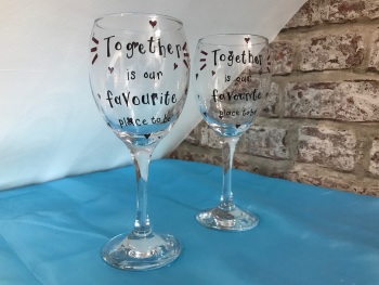 'Together is our favourite place' pair of personalised wine glasses