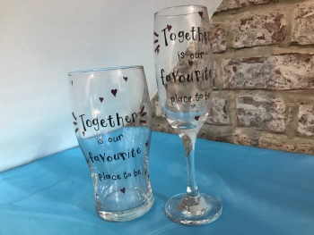 'Together is our favourite place' champagne glass and pint glass for him and her