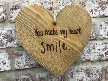 'You make my heart smile' personalised chunky wooden hanging heart sign