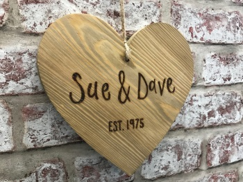 Mr and Mrs / Names Est (Year) personalised chunky wooden hanging heart sign