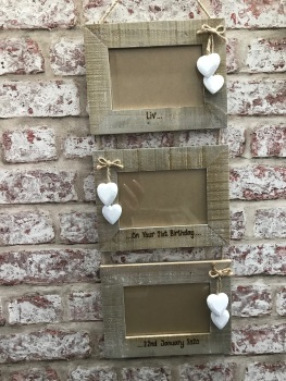 Triple engraved personalised wooden photo frame
