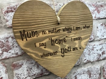 Mum you are home personalised chunky wooden hanging heart sign