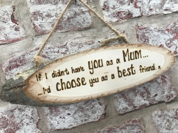 Hand engraved personalised wooden plaque mum best friend