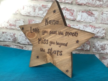 Memorial 'Mum / Dad miss you beyond the stars' personalised chunky freestanding wooden star plaque sign