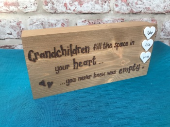 Wooden chunky freestanding block hand engraved for Nan / Grandad / Grandparents