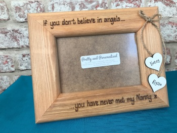 Angel Mum / Nan personalised wooden photo frame