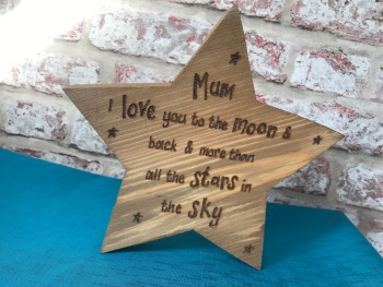 Love you moon & back personalised chunky freestanding wooden star plaque sign