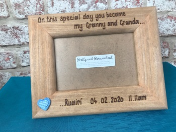 Grandson / grandaughter personalised solid wood photo frame