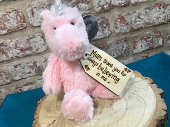 Personalised Unicorn Plush Soft Toy With Engraved Wooden Mum Tag