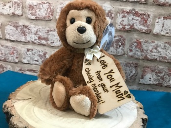 Personalised Monkey Plush Soft Toy With Mum Tag For Mother's Day